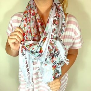 Floral fringe tassel scarf shawl multi-color wrap